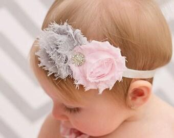 Pink Gray Baby Headband Baby Bow Hairbow Headband for Babies Vintage Shabby Flower Baby Girl Bow Headband Head Piece Hairband toddler bow