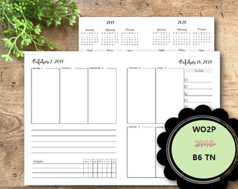 2019 B6 Travelers Planner Insert,  Weekly Planner Printable Pages, Dated, B6 Weekly Planner Insert, Weekly Planner Pages