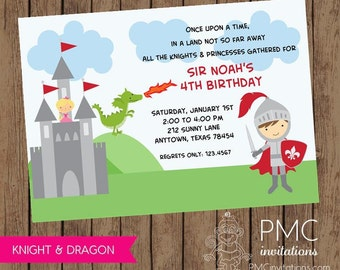 Knight Princess Dragon Birthday Invitations - 1.00 each with envelope