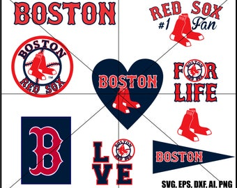 Boston Red Sox Clip Art  and logos, #1 fan, love Baseball in svg, eps, dxf, ai, png. INSTANT DOWNLOAD