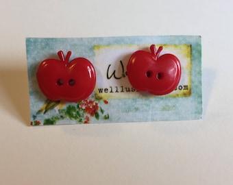 Small Red Apple Earrings
