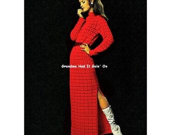 Crochet Pattern - Glamour Dress - Peek a Boo White Dress - Vintage Pattern - PDF Instant Download - 70s Maxi Dress - Digital Pattern - Vtg