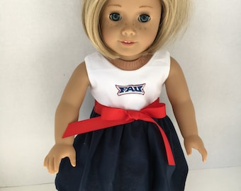 18 inch doll FAU dress, Florida Atlantic University doll dress,, made to fit 18 inch dolls such as American Girl and similar 18 inch dolls