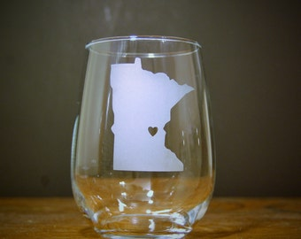 State Love Stemless Wine Glass - Any State / Custom Heart Placement