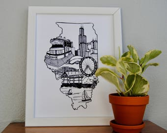 Chicago Print, Chicago Skyline, Chicago Art