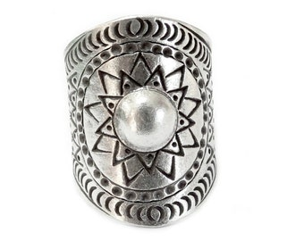 Sterling Silver Sun Mandala Wide Band Statement Ring, Handmade Bohemian Gypsy Star Ring, Ethnic Tribal Adjustable Cuff Solar Ring