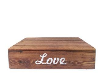 Rustic Cake Stand - Reclaimed Wood Wedding Decor - Love - Dessert Bar