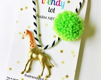 Kids Necklace. Kids Jewelry. Giraffe Necklace. Girls Necklace. Gift for Kid. Pompom Necklace. Animal Necklace. Small Easter Basket Gift