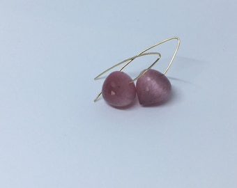 Pink tiger's eye drop and gold earrings