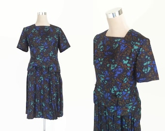 Vintage 1950's Dress - Chic 50's Dress - Size UK 14 - Blue Dress - Metal Zipper Dress