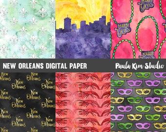 Mardi Gras Watercolor Digital Paper, New Orleans Digital Paper Pack, Commercial Use