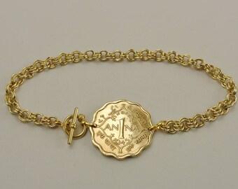 British India Coin Bracelet 1945 Anna
