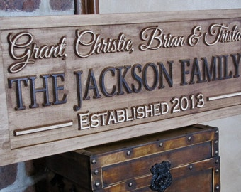 Personalized Family Last Name Signs custom wedding gift CARVED Wooden Rustic Couples Sign Wedding Anniversary Present Established Plaque New