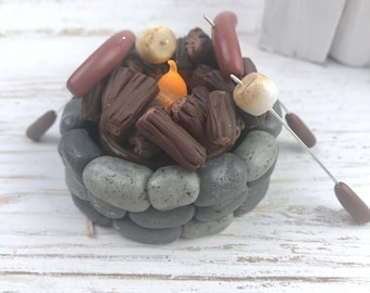 Fairy garden fire pit, miniature fire pit, dollhouse miniature, gnome garden, polymer clay