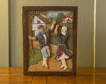 Dancing Duo - Wall Art - Handpainted Handcarved Handmade - European Folk Scene - Vintage Home Decor