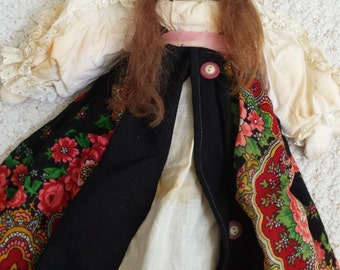 Antique Ethnic Doll, Composition Face, Cloth Body, French? 18 inches tall, Doll Collection