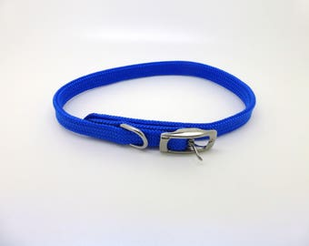 Dog collar, blue nylon