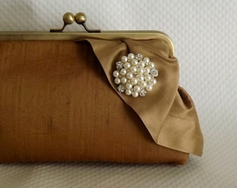 Gold Bridal Clutch - Gold Wedding Purse -Bridesmaids Clutch - Bridal Clutch with Pearl and Crystal Brooch - Giselle