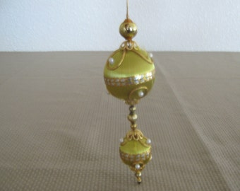 1960s / 1970s Gold Yellow Satin Sheen Christmas Ornament