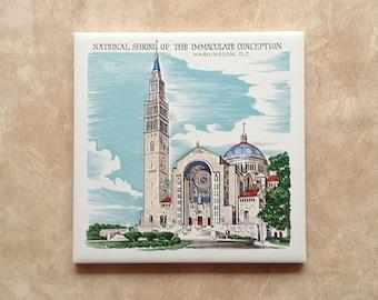 National Shrine of the Immaculate Conception Trivet Ceramic Hot Pad Souvenir 1960s