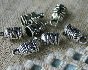 20pcs End Caps Silver Pewter 10x7mm Barrel for 5mm Leather Cord End