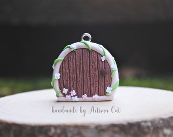 Spring Blossom Fairy Door - Polymer Clay Charm/Necklace