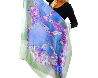Hand painted Silk Shawl/Painting Blue Shawl/Long shawl/Woman silk shawl/Blue Orchids/Luxury gift for Woman/Painted Silk Wrap/Coverup/Gabyga