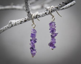 Amethyst earrings February birthstone Raw amethyst Amethyst Bridesmaid gift raw crystal earrings Delicate earrings anxiety jewelry
