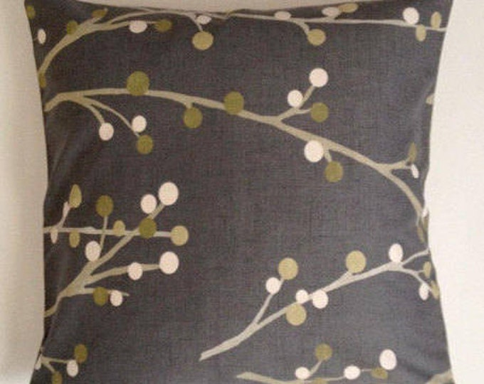 20X20 Decorative Throw Pillow Polkadots Branches- Charcoal Gray - Medium Weight Printed Cotton- Invisible Zipper Closure