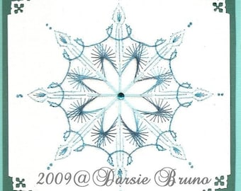 Winter Crystal Snowflake Christmas Paper Embroidery Pattern for Greeting Cards