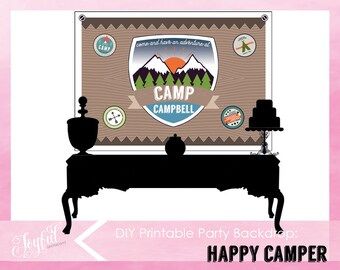 Camping Birthday Party Backdrop