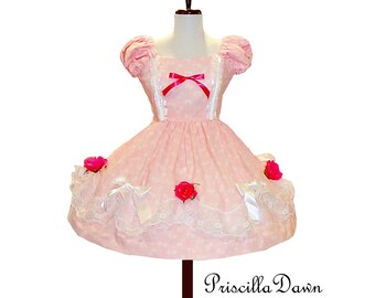 Pink with roses Petite Fours Cake Dress Custom in Your  Size tea party dress