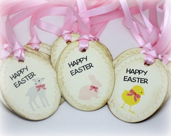 Easter Gift Tags (Triple Layered) - Farm Animal Labels - Lamb - Rabbit - Baby Chick - Happy Easter Hang Tags - Treat Labels (Set of 9)