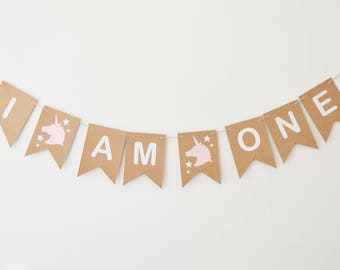 Pink Unicorn Birthday Decoration, Girls Party Decor, First Birthday Bunting, 1st Party, I Am One Banner