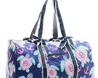 Quilted Sea Turtle/Crab Shoulder Duffel Bag WITH FREE MONOGRAM