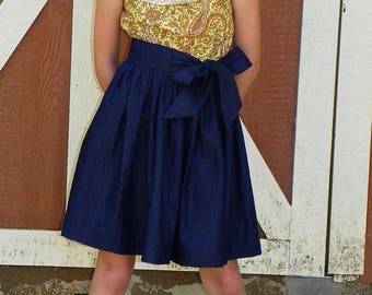 Girls Paisley and Denim Chambray Dress - Fall Chambray Dress - Fall Denim Dress - Back to School Dress