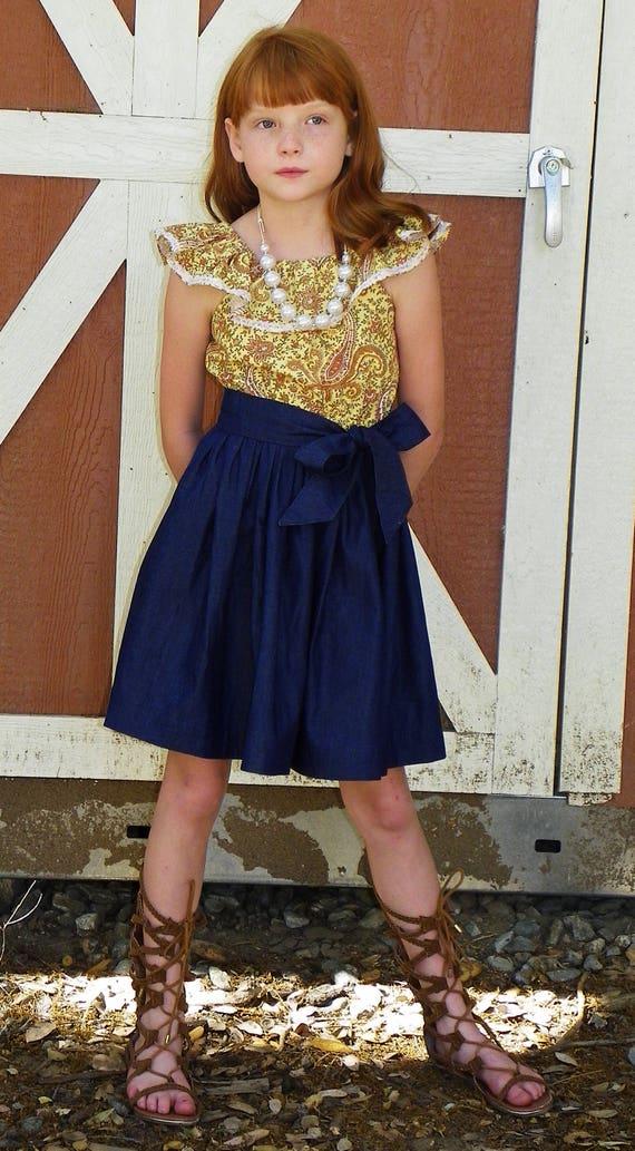 Girls Paisley and Denim Chambray Dress - Fall Chambray Dress - Fall Denim Dress - Back to School Dress
