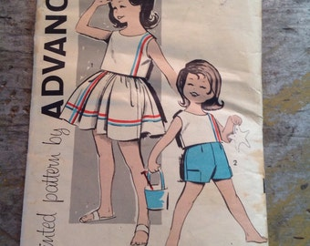 Vintage Sewing Pattern Advance 9817 Child's Size 1 Skirt Top