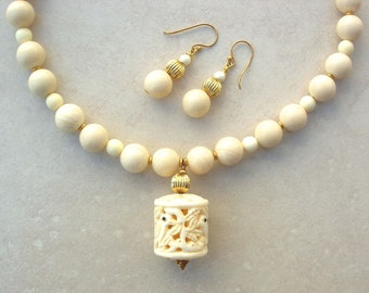 3 Birds in Paradise, Bone Pendant & Beads, Gold-Filled Spacers, Gold Vermeil, Necklace Set by SandraDesigns
