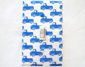 Truck Light Switch Cover - Trucks Switch Plate Cover - Blue Trucks Nursery