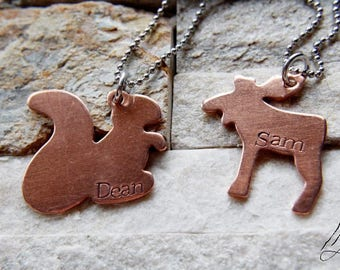 Moose and Squirrel, Copper Pendants,Hand Stamped, Supernatural Jewelry, Animal Jewelry, Custom Wing Necklace, Dean, Sam, SPN