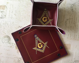 Mason Jewelry Tray, Masonic Emblem, Travel Trinket Tray, Custom Embroidery, Free Mason, Masonic Lodge, Gift for Him, Fathers' Day Gift