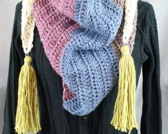 Kerchief Scarf with Tassels-purple/blue/green/gray/white