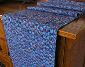 Handwoven Table Runner Blue Runner Home Decor Housewarming Gift Unique Handmade by FiberFusion 62 inches long Burgundy Navy - Blue Cascade