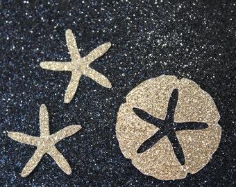 50 Gold Glitter Sand Dollars and Starfish Confetti