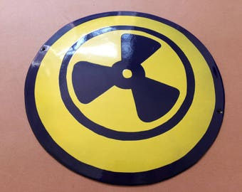 Vintage Tin Enamel Porcelain Sign Industrial Warning Radiation Ventilation 1970's Very Rare Yellow Blue Man Cave Safety Sign