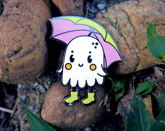 Rain BoOoOots Ghost Pin - Hard Enamel - Lapel Pin  - Gothic Fashion Accessory - Halloween accessory1.5 in