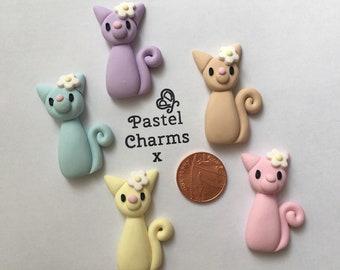 handmade clay charm cat kitty kitten pack of 2