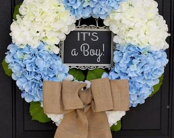 Baby Shower / Nursery Decoration -  It's a Boy - Blue and White Hydrangea Wreath Chalkboard Sign