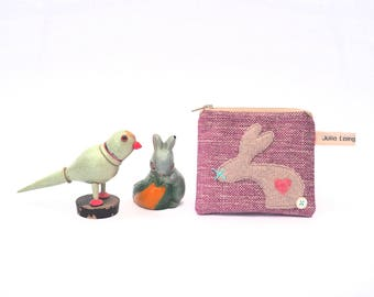 Rabbit Coin Purse, Bunny Design Purse, Handmade From Raspberry Pink Chenille Fabric
